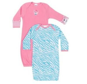 Gerber-Girls-2-Pk-Pink-Blue-Lap-Shoulder-Gowns-Size-0-6M-BABY-CLOTHES-GIFT