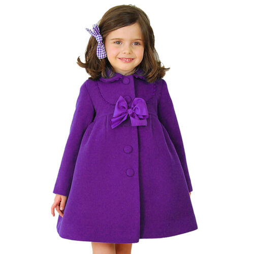 Kids Flower Girl Winter Princess Bowknot Cloak Coat Toddler Long Sleeve Outwear