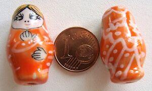 2 perles POUPEE RUSSE matriochka porcelaine 25mm BLANC DIY Bijoux Loisirs Déco