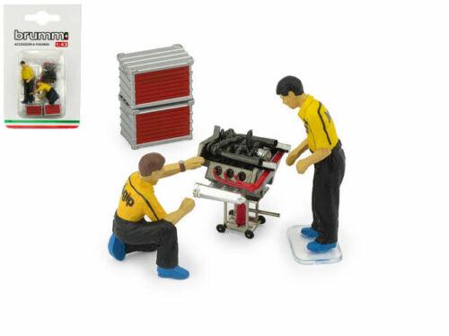 Figure Set Motoristi 2 Meccanici Accessori 1:43 Model BRUMM