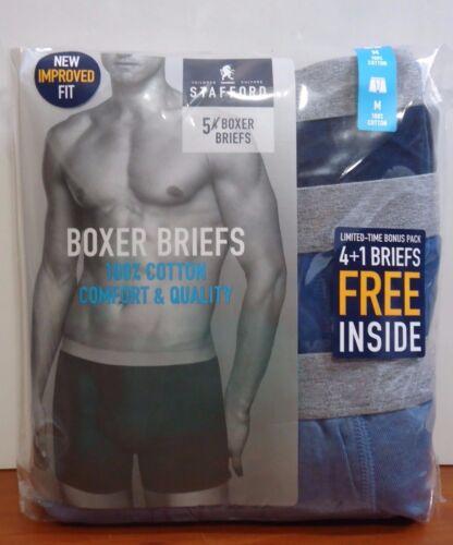 Stafford 5-Pack Men/'s 100/% Cotton Boxer Briefs Blues