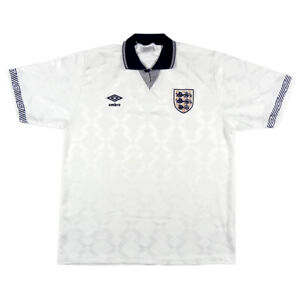 1990-92-Inghilterra-Maglia-Home-L-Top-SHIRT-MAILLOT-TRIKOT