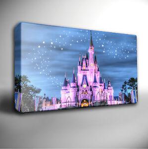 Image is loading Disneyland-Disney-Castle-Blue-Pink-Giclee-CANVAS-Wall- & Disneyland Disney Castle - Blue/Pink - Giclee CANVAS Wall Art Print ...