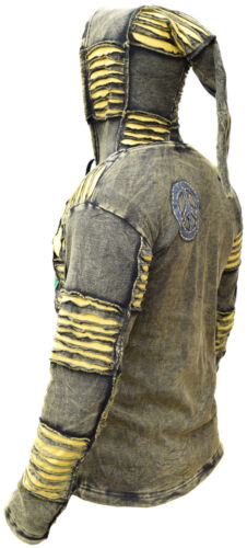 Yellow Stonewashed Funky Jacket Gothic Cotton Light Men/'s Elf Pointed Hoodie