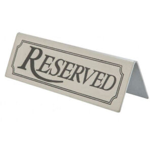 reserved sign stainless steel metal table tent type notice bar