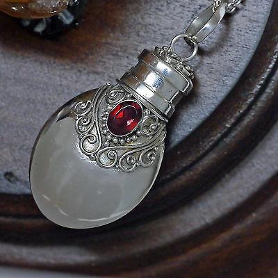 Geschenkset Duftanhänger 925 Silber Phiole Edelstein Mandelform Handgeschmiedet
