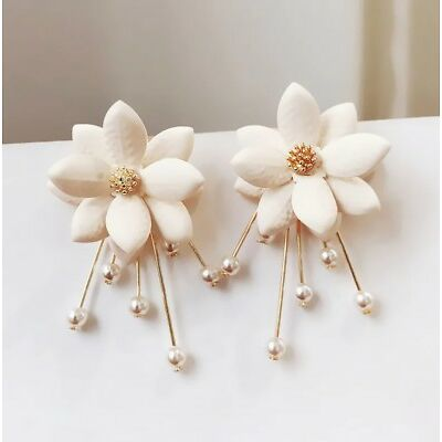 Earring Petal Pearl Sweet Earrings Flowers Earrings For Women Drops Earrings