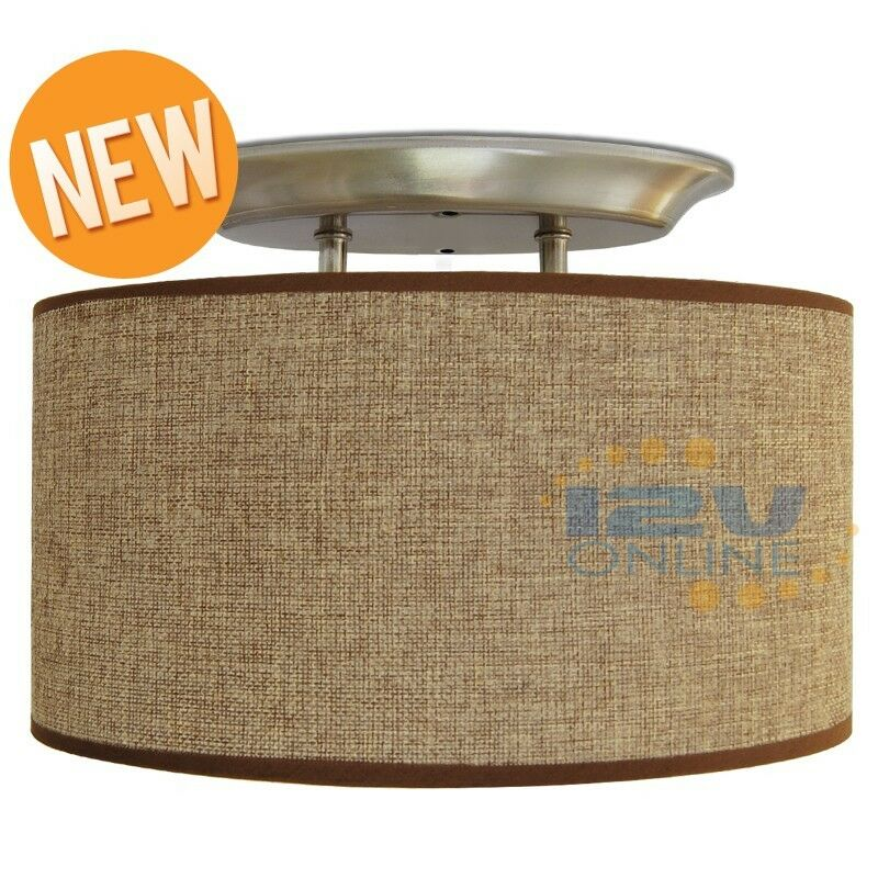 LED 12V Brown Fabric Dinette Ceiling Light RV Yacht Hallway Loft Light...