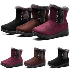 Womens Winter Warm Snow Boots Fur Lined