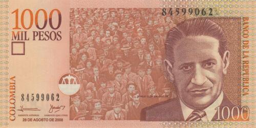 Colombia 1000 Pesos Crowd cheering Gaitan//p456k UNC 2008
