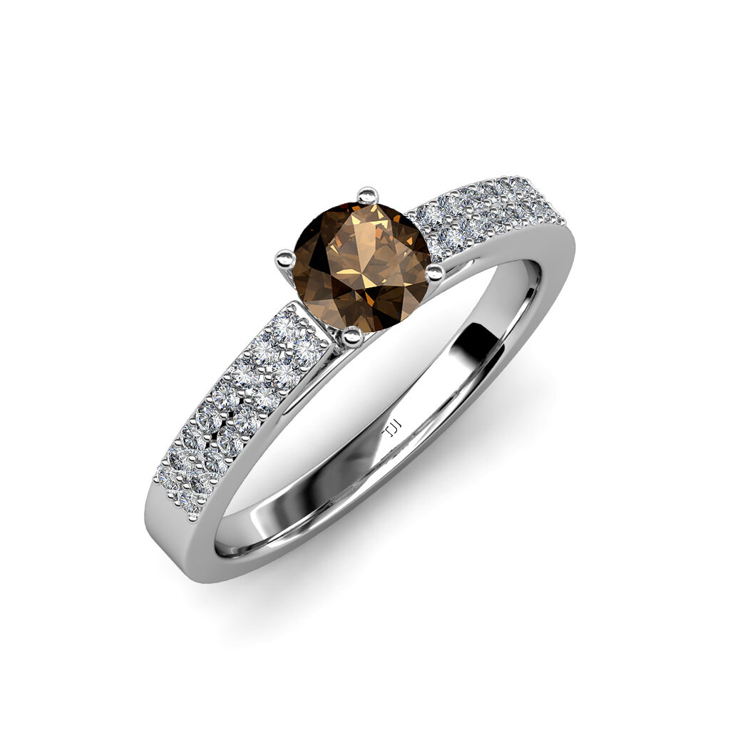 Smoky Quartz and Diamond Solitaire Plus Engagement Ring in 14K gold JP 58127