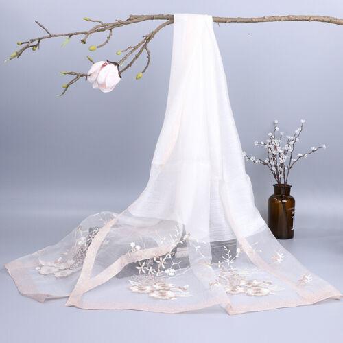 Lady Silk Wool Floral Scarf Shawl Wrap Elegant Embroidery Flower Long Gift Fairy