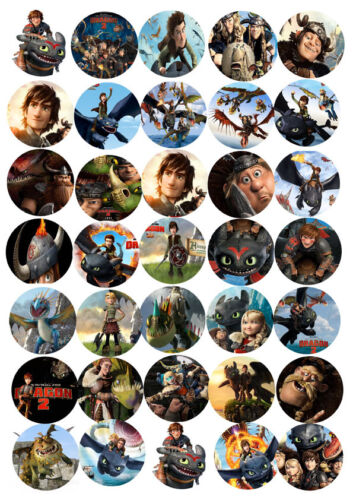 30 x How to Train Your Dragon Edible Rice Wafer Paper Cup Cake Toppers CUTout