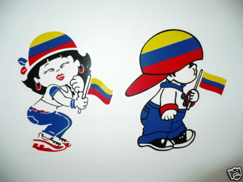BOY AND GIRL STICKER COLOMBIA....2 FOR THE PRICE OF 1