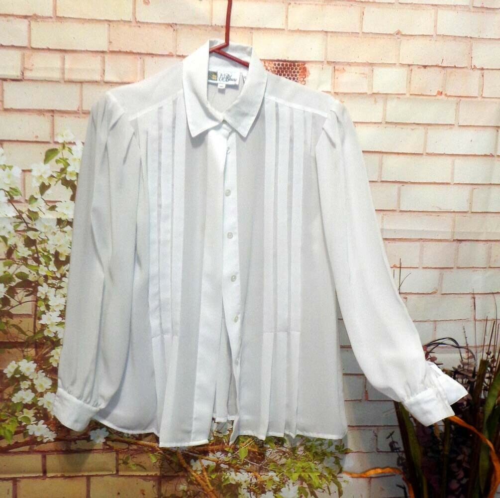 Semi-Sheer White Blouse size 12P Pre-Owned