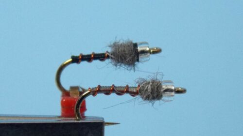 3 Black Beauty and 3 Miracle Midge Grey Nymph Fly w//clear bead size 18   6 qty.