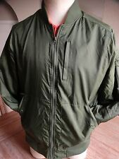 FIVE FOUR SOLID OLIVE GREEN DESIGNER ARMY BOMBER JACKET SIZE: LARGE