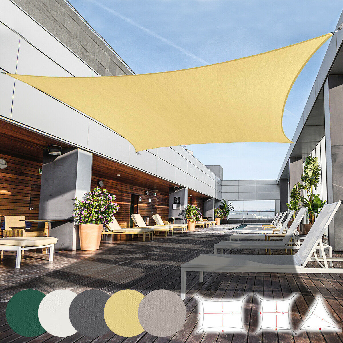 Coscool Sun Shade Sail Rectangle Fabric Patio Shade Sails Canopy 200gsm Hdpe Uv For Sale Online Ebay