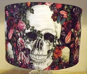 Gothic skull lampshade shabby chic floral roseshalloween free gift image is loading gothic skull lampshade shabby chic floral roseshalloween free aloadofball Image collections