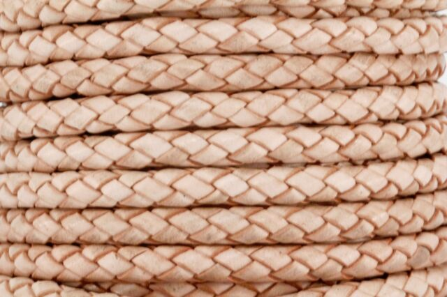 """Genuine Round Bolo Braided Leather Cord 6 MM 1/4"""" DIY Craft Jewelry Supplies"""