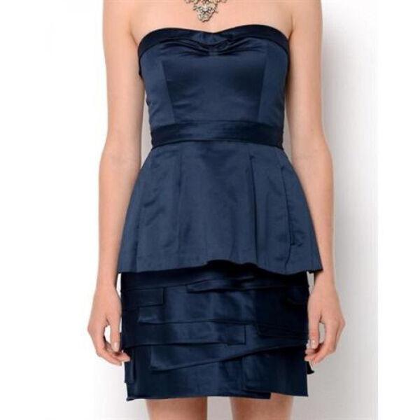 Bcbg maxazria Satin Annika Origami dress ink navy bluee
