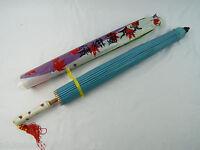 Chinese Oriental Umbrella Purple & Blue Bluebird Cherry Blossom China Town Ny
