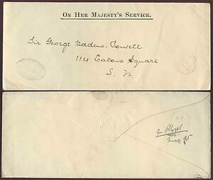 GB 1895 ENVELOPE OHMS OFFICIAL RECEIVER CAREY STREET to SIR GEORGE BADEN POWELL