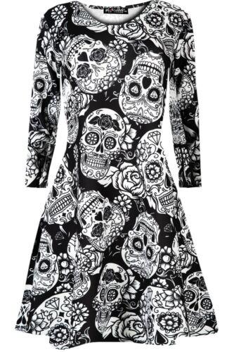 Women Ladies Halloween Costume Vampire Horror Blood Long Sleeve Swing Mini Dress