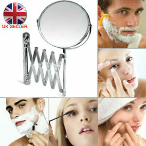 Extending-3X-Magnifying-Makeup-Bathroom-Shaving-Round-2-Sided-Mirror-Wall-UK