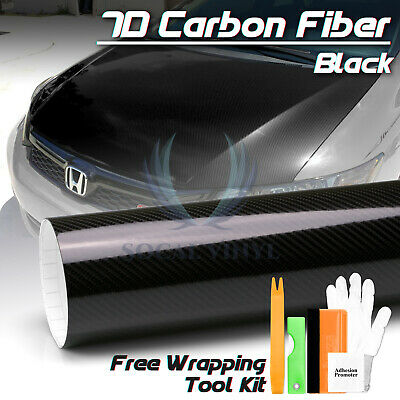 "*60/""x120/"" 5D High Gloss Black Carbon Fiber Vinyl Wrap Bubble Free Air Release"