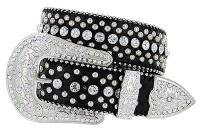 "Western Rhinestone Cowgirl Style Bling Women's Studded Fashion Belt 1-1/2"" Wide"