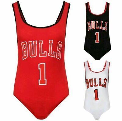 Ladies Women/'s Celeb Bulls 1 Print Sleeveless Jersery Bodysuit Leotard Top 8-14