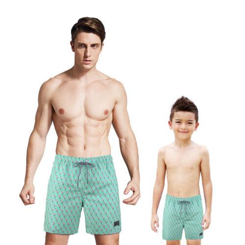 Father /& Son Matching Flamingo Print Mesh Liner Swim Trunks Short Green S M L XL