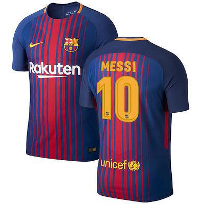 Nike Fc Barcelona 2017 2018 Home Messi 10 Soccer Jersey Kids Youth Ebay