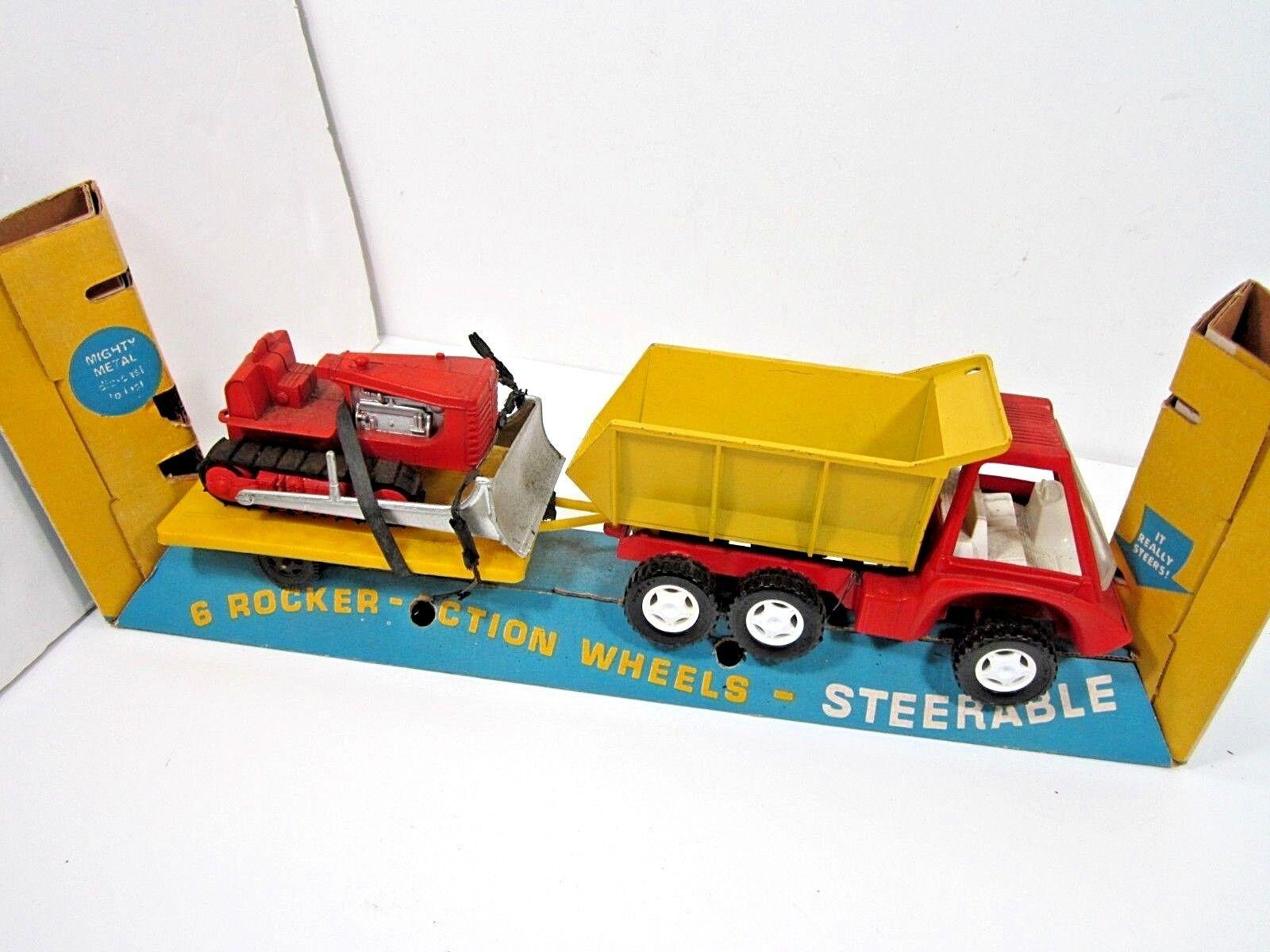 Vintage 1969 Hubley Mighty metal orientable Dump n Dozer Camiones De Juguete Caja parcial