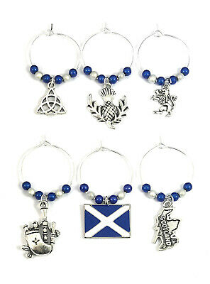 Libbys Market Place Scottish Flag The Saltire St Andrews Cross Scotland Flag Wine Glass Charm on a Gift Card