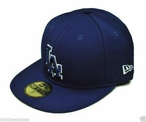 New-Era-59Fifty-Hat-Los-Angeles-Dodgers-Mens-Dark-Royal-Blue-5950-Fitted-Cap