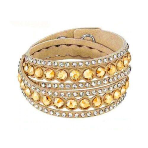Adjustable Beige Double Wrap Slake Bracelet Made with Swarovski Elements