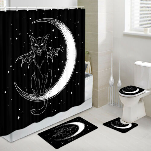 Black cat with wings on the moon Shower Curtain Bath Rug Toilet Lid Seat Cover