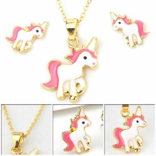 Children Kids Girls Pink Unicorn Necklace and Earring Set Brand New Jewellery UK