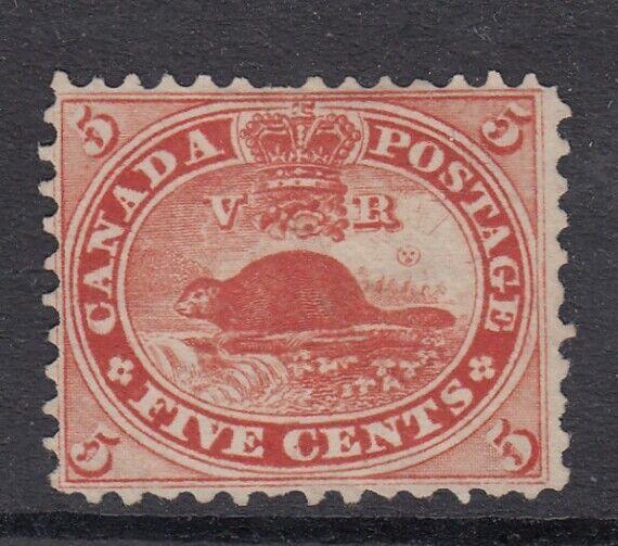 Canada MINT NG Scott #15  5 cent Beaver vermilion