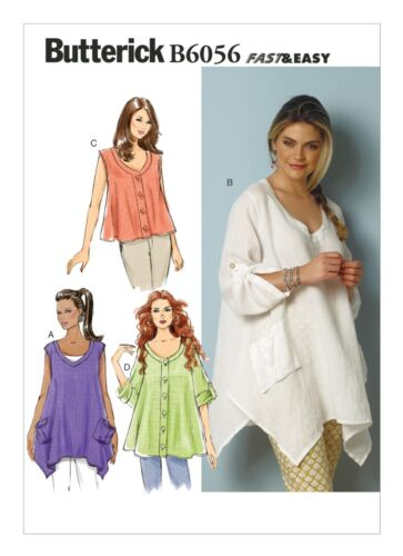 ButterickVery Easy SEWING PATTERN B6056 Misses Top XS-M Or L-XXL