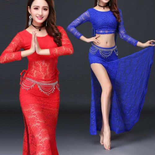 Belly Dance lace longsleeve lace Skirt Training full lace Practice Dance Costume