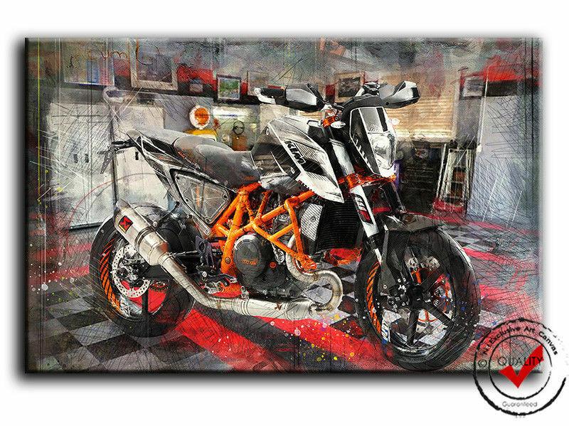 KTM 690 Duke Bild Leinwand Bilder Motorrad Superbike Sport Bike Wandbild Poster