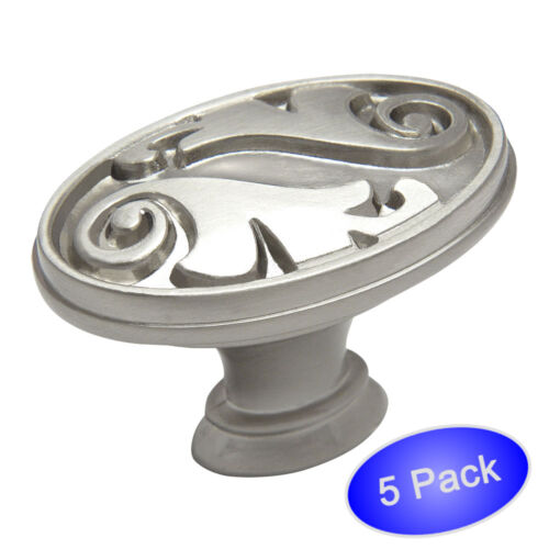 *5 Pack* Cosmas Cabinet Hardware Satin Nickel Oval Cabinet Knobs #4297SN