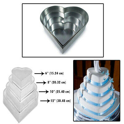 4 Tier Heart Multilayer Birthday Wedding Anniversary Cake Tins