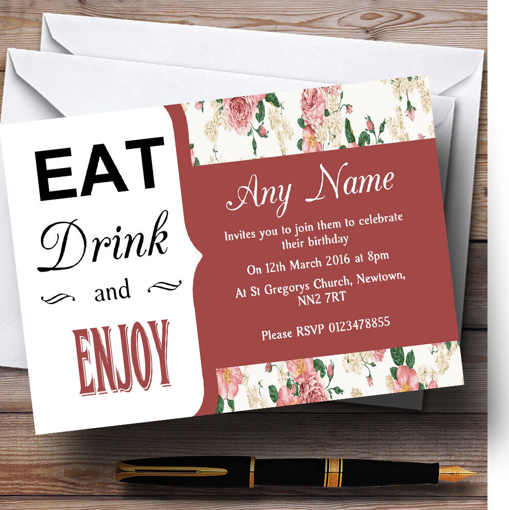 Coral rot Vintage Eat Drink Personalised Birthday Party Invitations