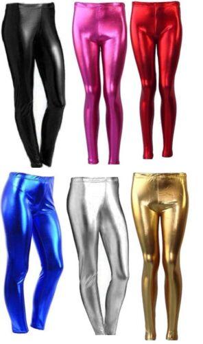 Femmes Mesdames Filles Aspect Mouillé Brillant Disco Métallique Leggings FOIL 8-22 5-13YRS