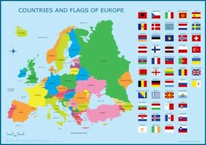 Map Of Spain For Classroom.A3 Map Of Europe With Flags Educational Wall Chart Poster Kids
