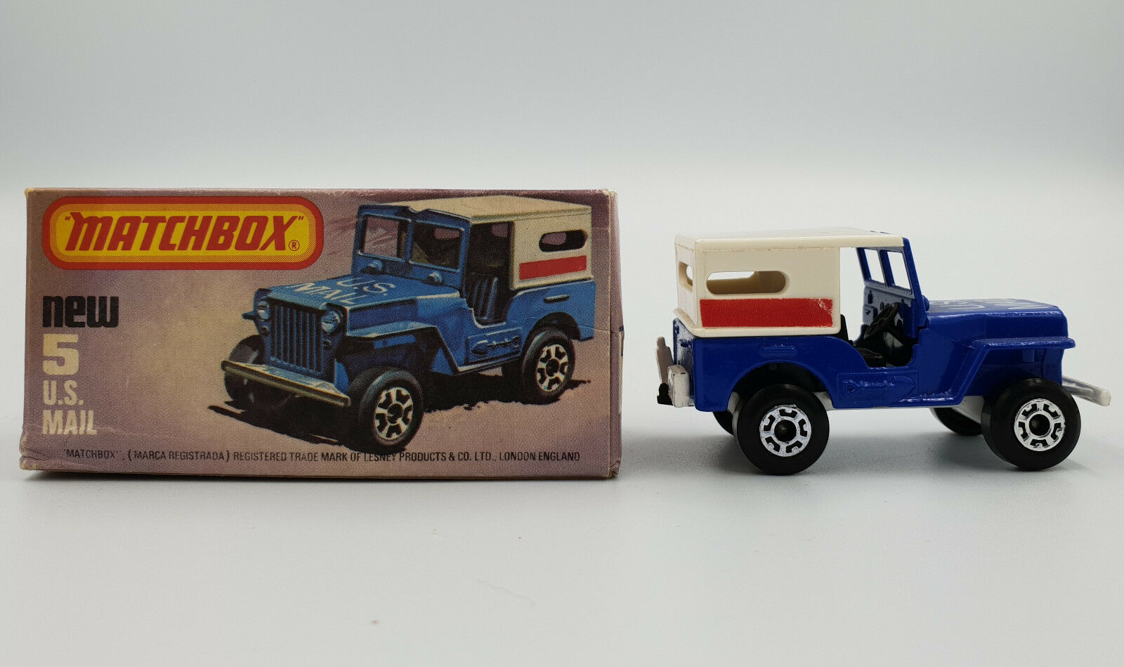 CARS   US MAIL JEEP (5) MATCHBOX MODEL MADE IN 1979 (DRMP)